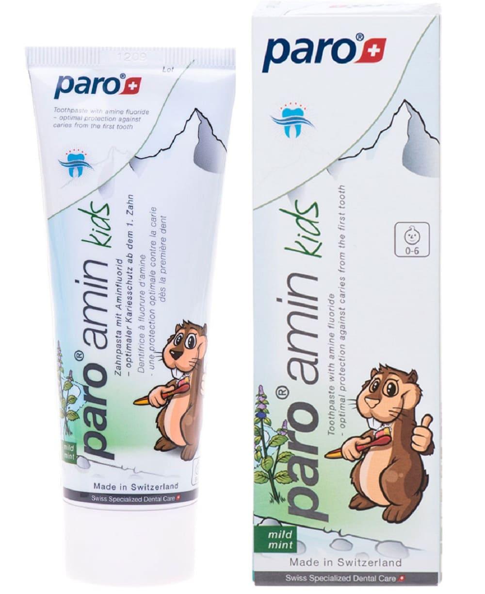 Зубная паста Paro на основе аминфлюорида 0-6 лет